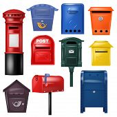 Mail Box Vector Post Mailbox Postal Mailing Letterbox Illustration Set Of Postboxes Design For Deliv poster