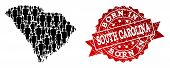 People Crowd Collage Of Black Population Map Of South Carolina State And Scratched Seal. Vector Red  poster