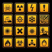 Hazard symbols orange vectors sign, on black background