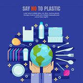 Plastic Garbage Pollution Concept. Say No To Plastic Vector Illustration. Ecology Environmental Bann poster