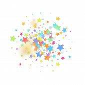 Green, Red, Yellow,pink Star Confetti On White Background.  Flying Shiny Sparkle Particles. Abstract poster