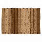 Wooden Fence Icon. Vector Of A Fence Made Of Wooden Planks. Hand Drawn Board Of Wooden Planks. poster