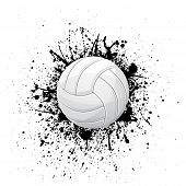 White Outline Volleyball Symbol With Ink Blots Isolated On White Background poster