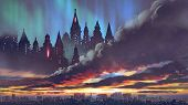 Sunset Scenery Of The Dark Castles On Black Clouds Above The City, Digital Art Style, Illustration P poster