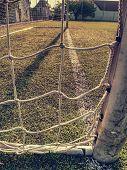 On Football Soccer Field. Goal Soccer Field. Soccer Football Net Background Over Green Grass Or Socc poster
