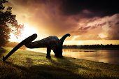 Dinosaur , Apatosaurus In The Forest ,dinosaur , Apatosaurus poster