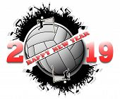 Happy New Year 2019 And Volleyball Ball With Volleyball Fans. Creative Design Pattern For Greeting C poster