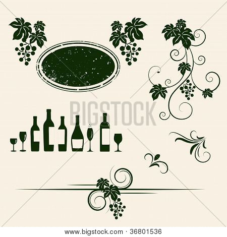 Grape vines, wineglasses and decorative elements set.