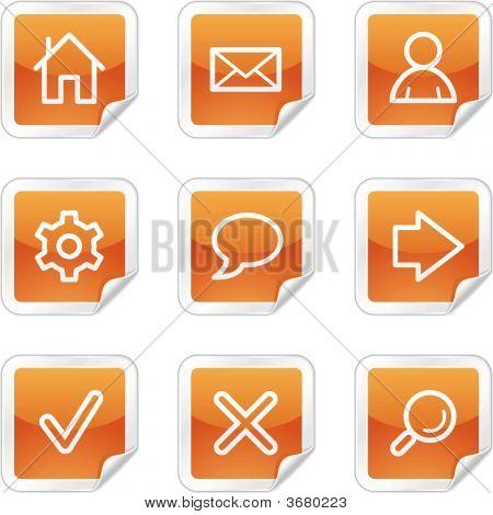 Basic Web Icons, Orange Glossy Sticker Series