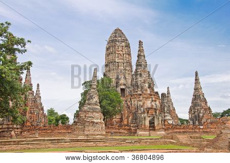 Ancient Pagoda In Ruined Old Temple