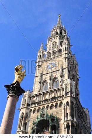 The Marienplatz And City Hall In Center Munich