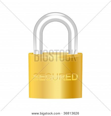 Secured Brass Padlock. Vector Illustration