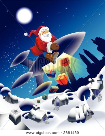 Millennium Santa On A Space Rocket