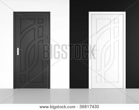 Black And White Door