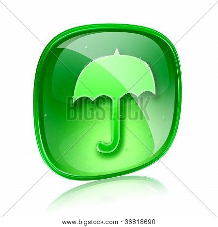 Umbrella Icon Green Glass, Isolated On White Background