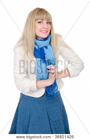 Beautiful Blonde Connected Hands To A Blue Scarf