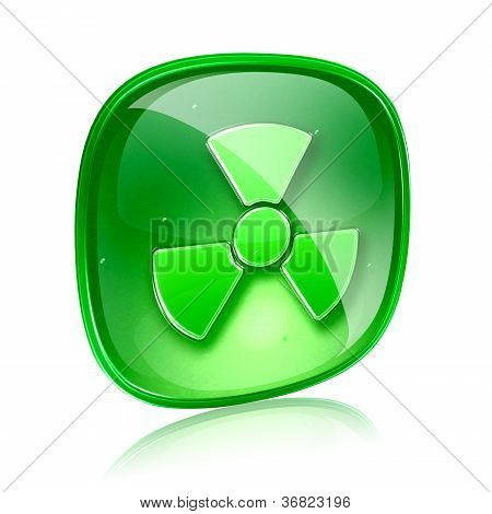 Radioactive Icon Green Glass, Isolated On White Background.
