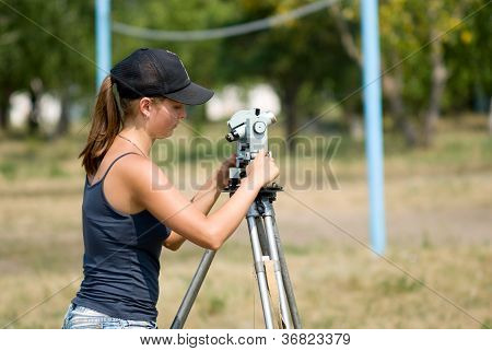 The Student Learns To Work With A Theodolite