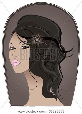 Retrato de menina bronzeada