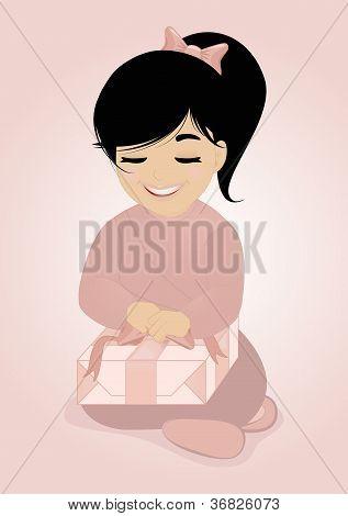 kleine Mädchen und Geschenk