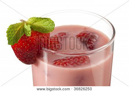 Close Up Shot Of Strawberry Milkshake
