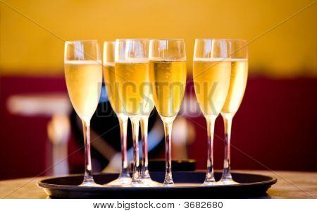 Full Gold Glasses Of Champagne
