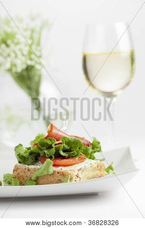 gourmet lunch, open faced sandwich