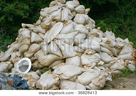 Sandbags in a Construction Zone