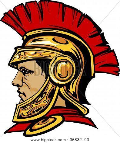 Troyano espartano con casco mascota Vector imagen