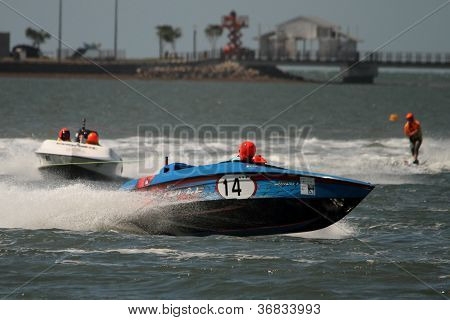 Brisbane, Australia - September 15 : Team Merc Force In Lead Boat Australian Water Ski Racing Champi