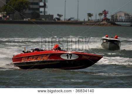 Brisbane, Australia - September 15 :team Ngr Racing Turning During The Australian Water Ski Racing C
