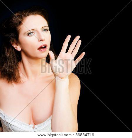Young Beautiful Woman Miming In Silent Drama