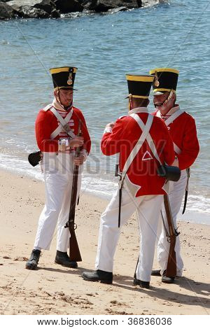 Brisbane, Australia - September 16 : Unidentified Men In Soldier Re-enactment Costume Milling As Par
