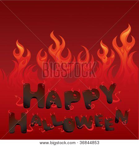 Cartão de dia das bruxas com textura flamejante e letras no estilo do diabo
