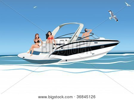Young Women And A Man Resting On A Boat, Rest On The Sea, Vector Illustration