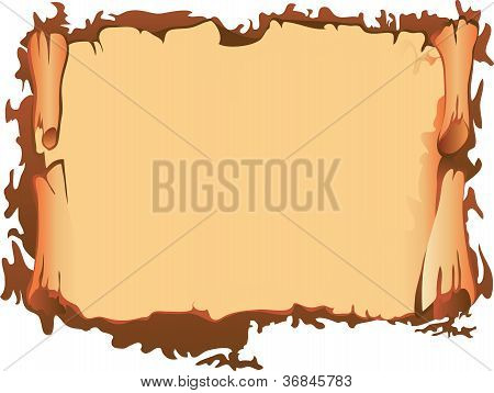 Scroll of old parchment, vector illustration, background