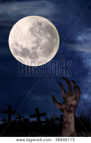 Zombie Hand On Graveyard