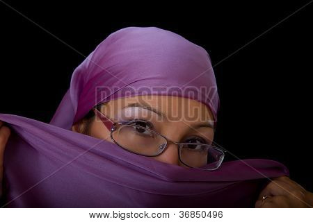 Young Woman In Glasses With A Veil