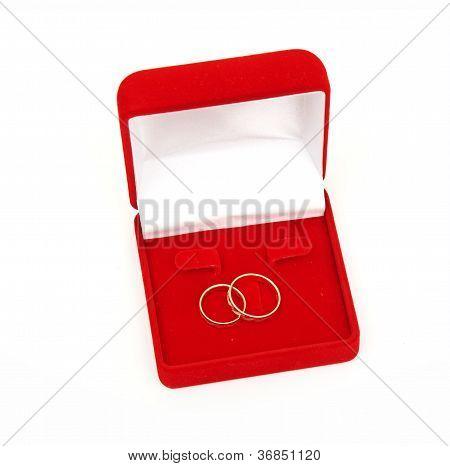 Wedding rings on red box
