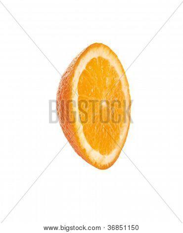 Juicy orange on a white background, close-up