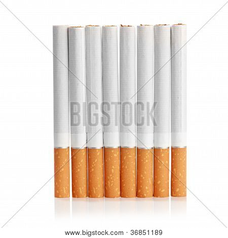 Color photo of filter cigarettes isolated background