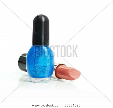 Red lipstick and nail polish
