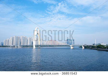 Guanghzou City And Zhujiang River