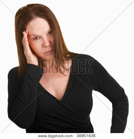 Upset Woman With Hand On Head
