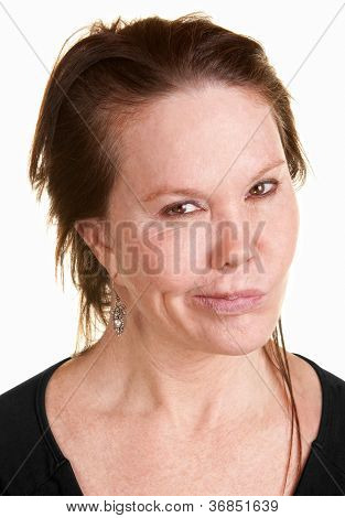 Doubtul Woman Over White Background