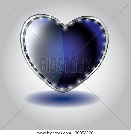 blue heart shaped glass button. vector illustration on valentine