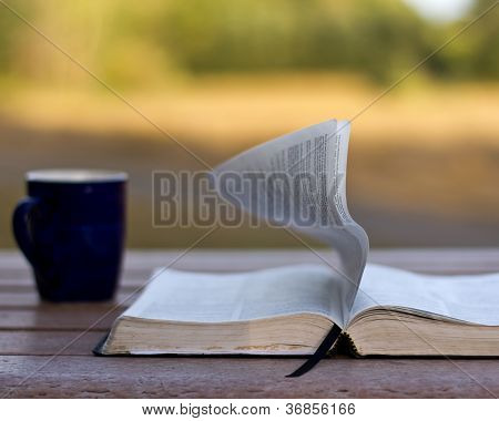 Wind turning page of Bible