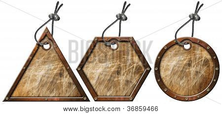 Set Of Grunge Metal Tags - 3 Items