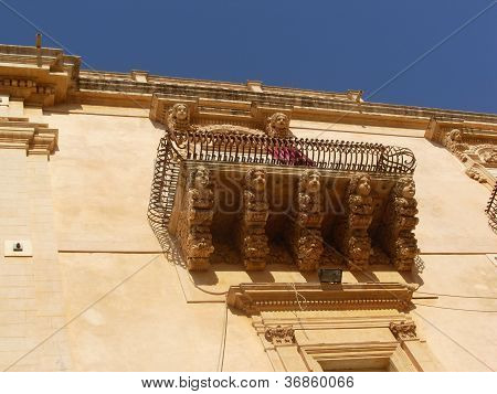 Typical baroque balcony in Noto