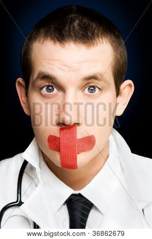 Silent Handsome Doctor With Cross Bandage On Face